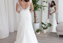 Bride Vanitha - Fit and Flare Chiffon Wedding Dress with Sheer Lace Bodice - Dentelle Bridal by Dentelle Bridal