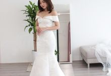 Bride Zinny - Structured Off Shoulder Mermaid Wedding Dress - Dentelle Bridal by Dentelle Bridal