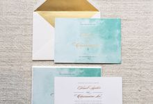 Soft watercolour in turquoise and gold by Spinsugar Stationery