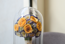 Beautiful Summer Wedding Bouquet in Glass Dome by Camila V Flower Preservation Studio