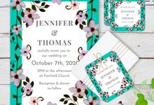 Chinois Mural Wedding Invitation by Gift Elements