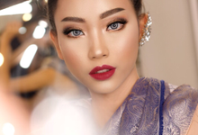Bold red lip for engagement or prewedding by Ciel Makeup Artist