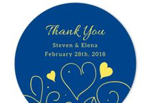 Country Summer Blue Thank You Sticker and Tag Set by Gift Elements