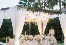 Elegant Wedding Decoration with the mix of blush and ivory at The Ritz Carlton by Silverdust Decoration