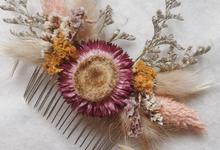 Hair piece by Dried Flower Studio