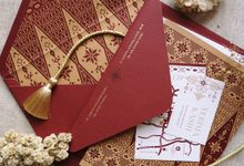 Maroon Gold Songket by Trouvaille Invitation