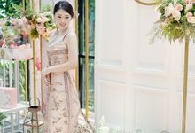 Engagement Modern Cheongsam Dress in Rosegold by Stephani Janet Bridal & Couture