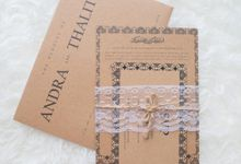 Wedding Invitation - Paper Brown with Lace by Kanoo Paper & Gift