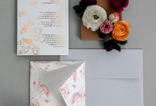 Pink & Copper folded wedding invitation by something MADE