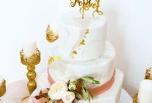 Marbled and Gold Three Tiered by KAIA Cakes & Co.