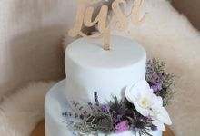 Two Tiered Light Blue Marble Combination by KAIA Cakes & Co.