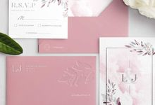 Contemporary Dusty Pink Botanical by Trouvaille Invitation