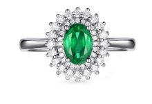 Tiaria ED013 Emerald and Gold Diamond Ring Perhiasan Cincin Tunanan Emas Batu Zamrud dan Berlian by TIARIA