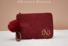 Personalized Velvet Pouch Clutch by Kelsye Studio