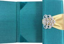 Emerald Green & Gold Silk Invitation Folder by Prestige Creations Co.,Ltd.