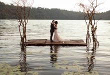 Exquisite Lake & Forest Prewedding of Evita & Benny in Bali by fire, wood & earth