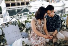 Yacht Proposal during Covid in a Baby blue hydrangeas themed by Lily & Co.