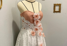 White Peach Lace Wedding dress by Farah Bisyir (Fashion Designer) / BY FAR