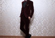 Red Velvet/Seude Suits By Korean Designer by Victoria Wedding Collection