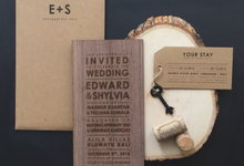 Rustic modern wood lasercut invitation by Pensée invitation & stationery