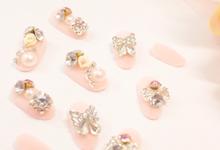 Pink ready stock fake nails by Sunshine Nailart