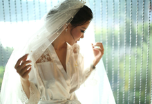 White Lace Satin Robe by dydx Bride
