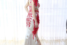 Red theme sister dress by Francesca Couture