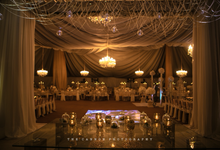 Wedding dinner  by blue velvet marquee