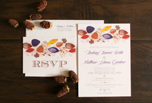 Autumn Fall Leaves Wedding Invitation by Brown Fox Creative