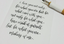 Pointed pen calligraphy for wedding vow by La Vie Calligraphy