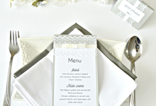 Lace wedding menu by Jasmine wedding prints