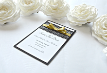 Black & Gold save the date cards by Jasmine wedding prints