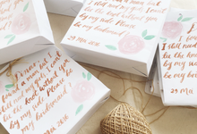 Bridemaid paper bags by Meilifluous Calligraphy & Design