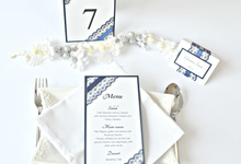 Navy Blue Lace wedding stationery set by Jasmine wedding prints