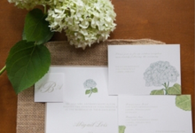 Beige, Ivory and Soft Blue Hydrangea Invitation by Brown Fox Creative