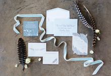 Texas Angel Feather Wedding Invitation by Brown Fox Creative
