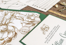 Forest Green & Gold Floral Invitation by Brown Fox Creative