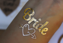 Team Bride gold bachelorette party temp tats by Tats4now LLC