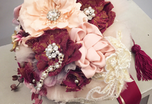 The Burgundy Songket Bouquet by WoodleighPark