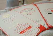Bronze Red-White Custom Invitation by Memoir Paperie