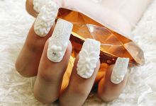 White floral Queen Nails by Posh Tips Salon & Spa