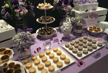 Elegant Purple Wedding Dessert Table by Baker V