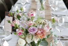 Shawn & Tien's wedding reception  by Florals Actually