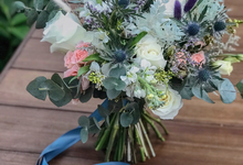 Icy blue and white bridal bouquet for L by Florals Actually