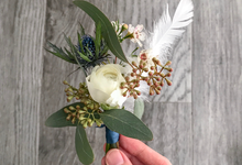 Blue and white feathery dreams for E  by Florals Actually