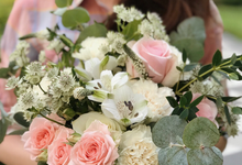 Classic round bouquet in peach and cream  by Florals Actually