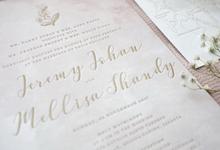 Jeremy & Melissa Letterpress wedding invitation by Fornia Design Invitation