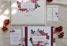 Ricky & Evania - Floral Burgundy Wedding Invitation by Bluebelle Invitations