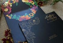Nadhila & Ricky Black Gold Floral Wedding Invitation by Bluebelle Invitations