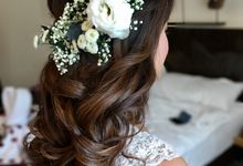 Romantic Floral Rustic Half up Half Down Hairstyles by Sylvia Koh Makeup and Hairstyling